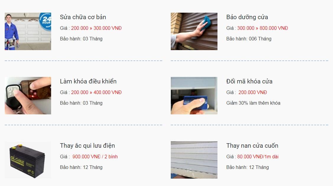 Bảng giá sửa cửa cuốn tại Hà Nội